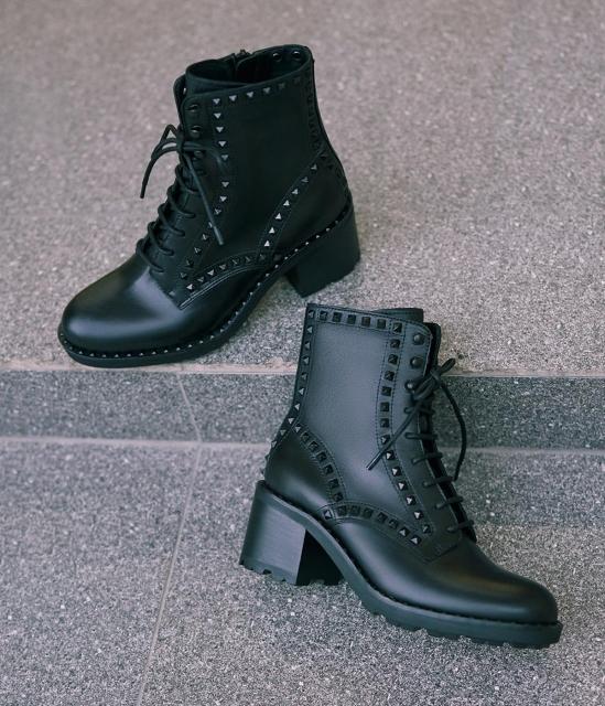 ASH女鞋2019秋季新款马丁靴XIN系列时尚靴牛皮低筒中高跟短靴
